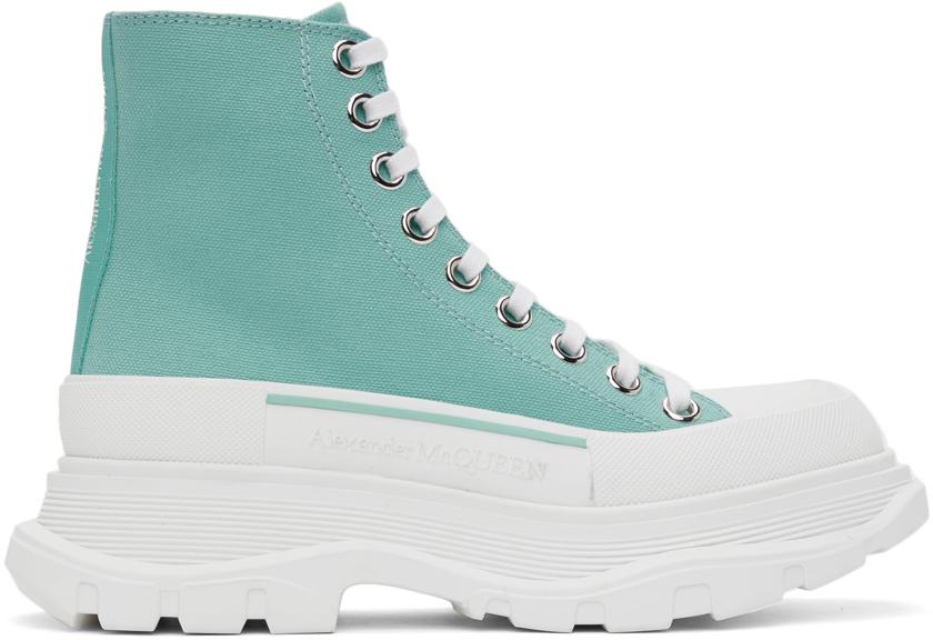 Alexander McQueen SSENSE Exclusive Green Tread Slick High Sneakers