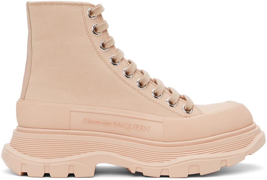 Alexander McQueen Pink Tread Slick Platform High Sneakers
