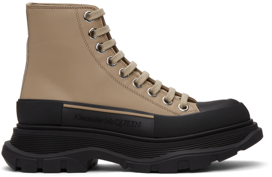 Alexander McQueen Taupe & Black Leather Tread Slick High Sneakers
