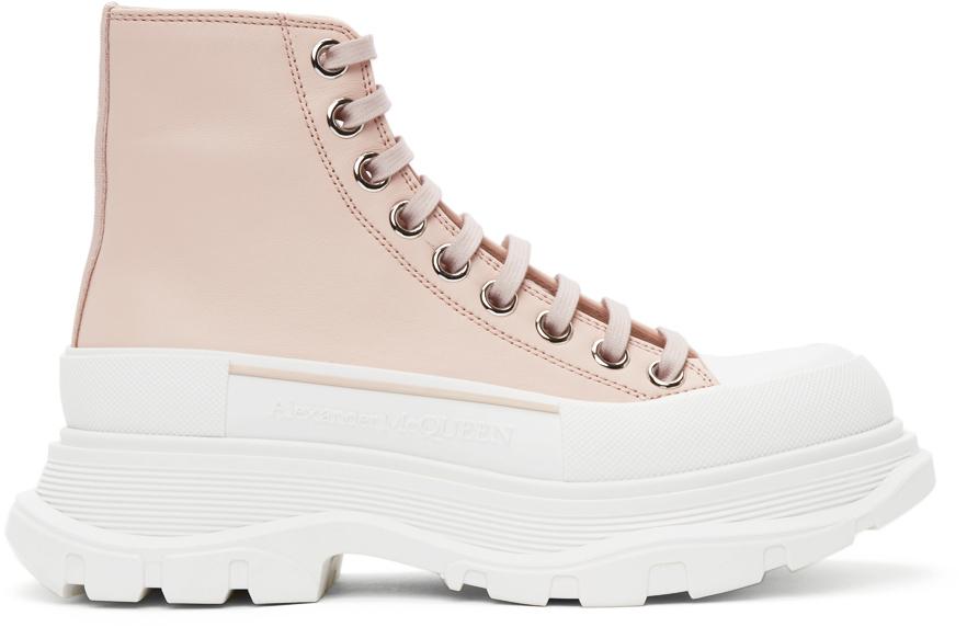 Alexander McQueen Pink Leather Tread Slick High Sneakers