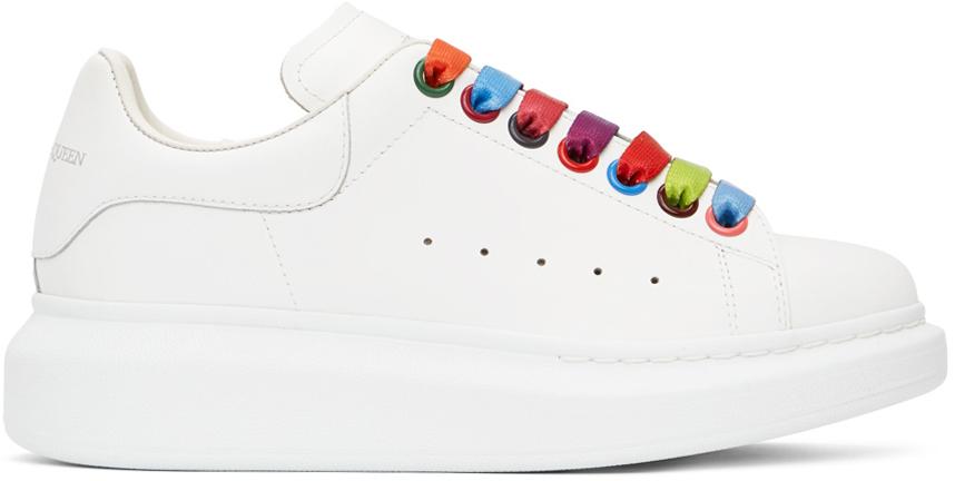 Alexander McQueen SSENSE Exclusive White Rainbow Oversized Sneakers