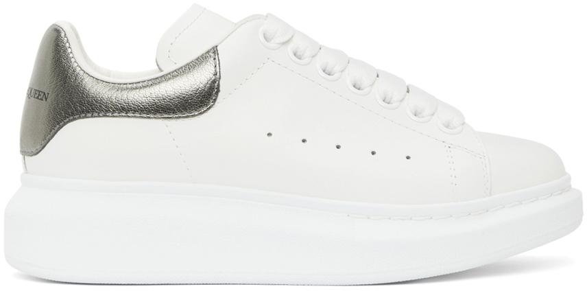 Alexander McQueen White & Gunmetal Metallic Oversized Sneakers