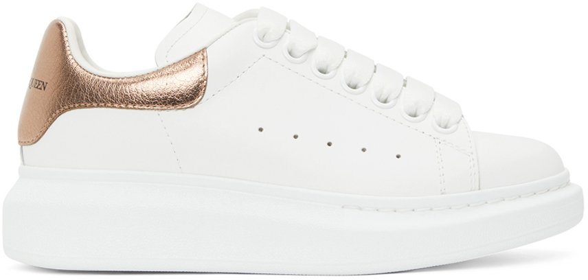 Alexander McQueen White & Rose Gold Metallic Oversized Sneakers