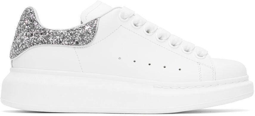 Alexander McQueen SSENSE Exclusive White & Silver Oversized Sneakers