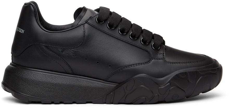 Alexander McQueen Black Court Trainer Sneakers