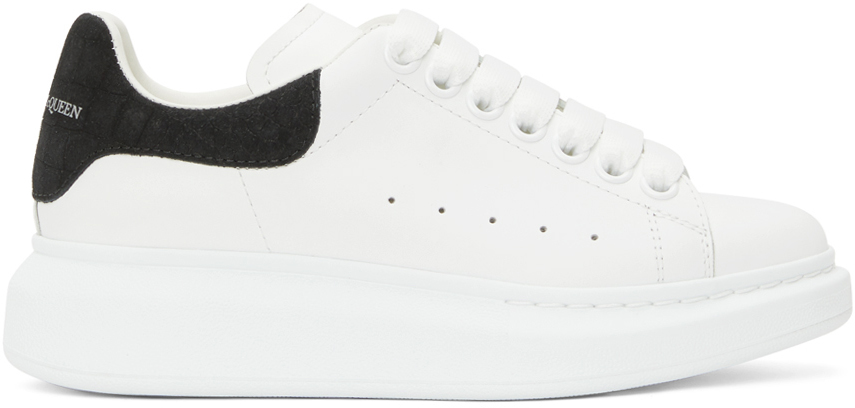 Alexander McQueen White & Black Snake Oversized Sneakers