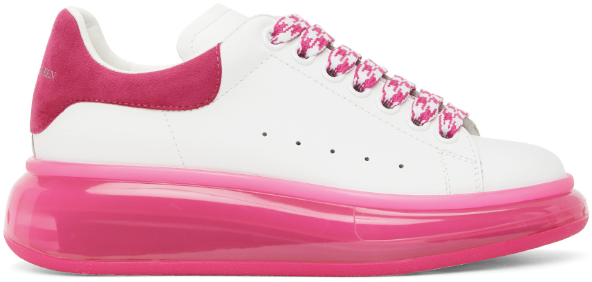 Alexander McQueen White & Pink Clear Sole Oversized Sneakers