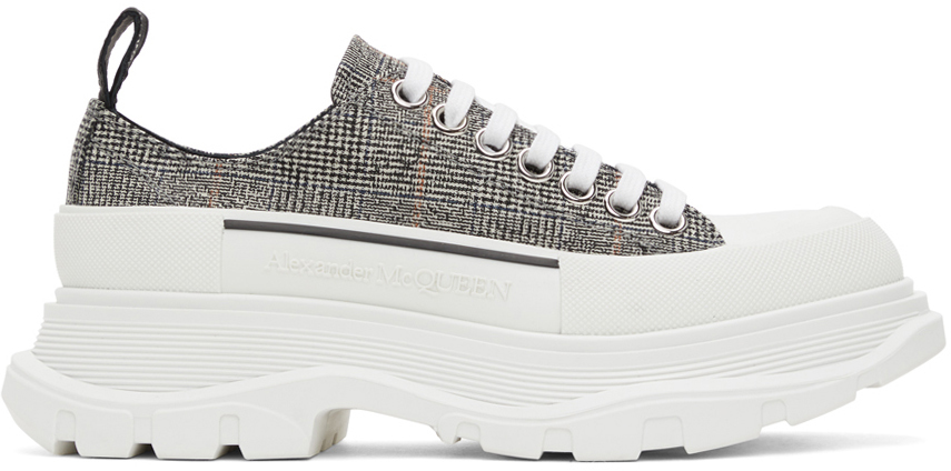 Alexander McQueen Black & White Wool Tread Slick Low Sneakers