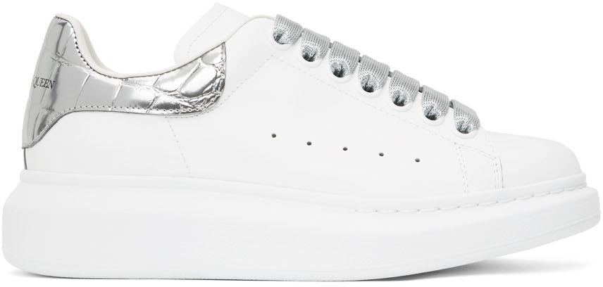 Alexander McQueen SSENSE Exclusive White & Silver Croc Tab Oversized Sneakers