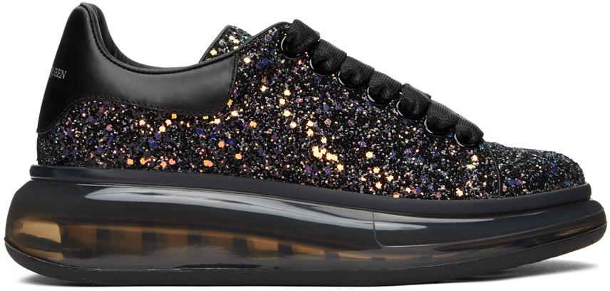 Alexander McQueen SSENSE Exclusive Black Galaxy Glitter Oversized Sneakers