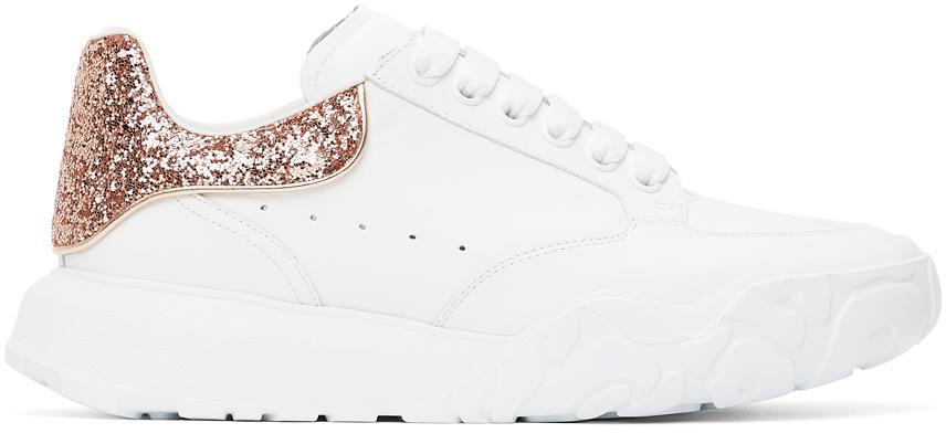 Alexander McQueen White & Pink Glitter Court Sneakers
