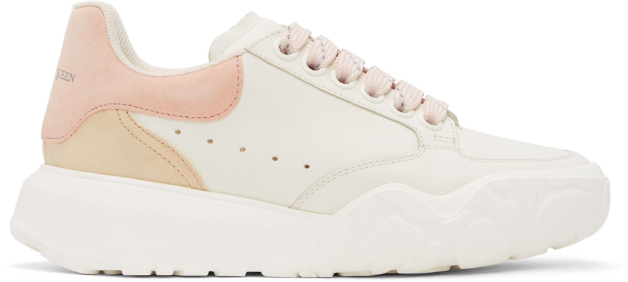 Alexander McQueen White & Pink Court Trainer Sneakers