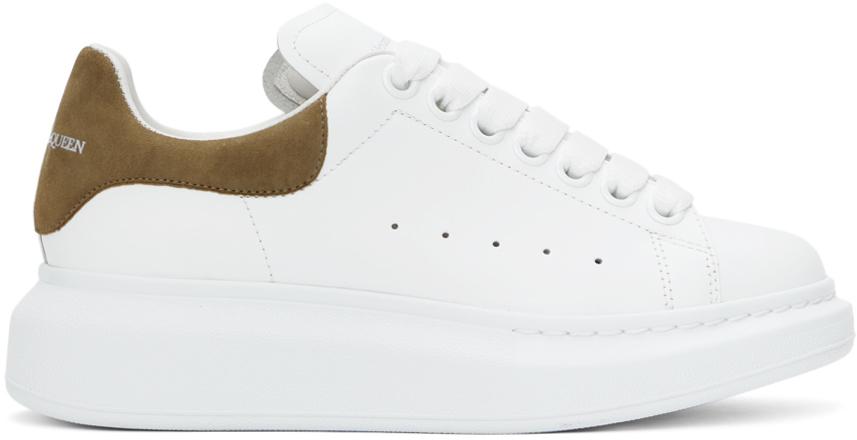 Alexander McQueen White & Khaki Oversized Sneakers