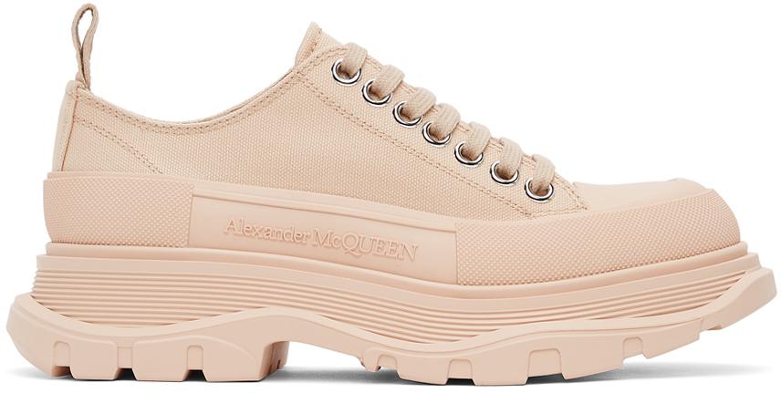 Alexander McQueen Pink Canvas Tread Slick Low Sneakers