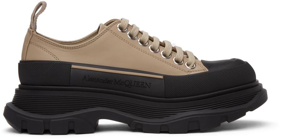 Alexander McQueen Taupe & Black Leather Tread Slick Sneakers