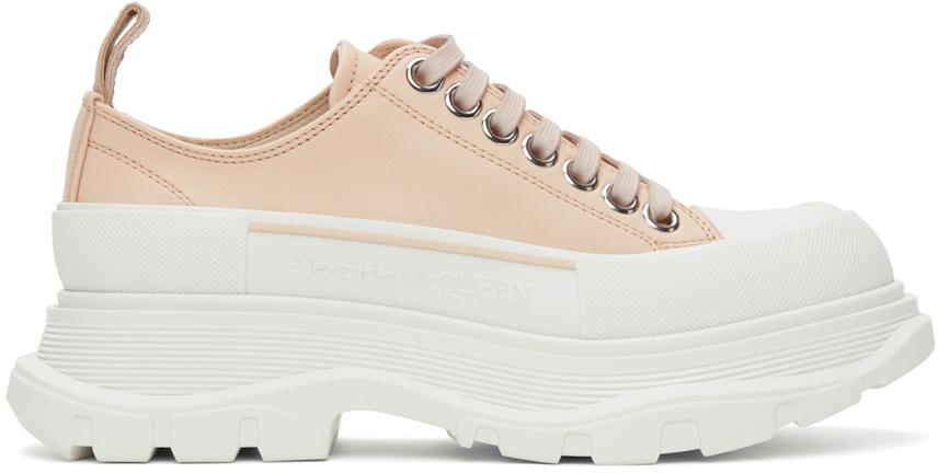 Alexander McQueen Pink Leather Tread Slick Low Sneakers