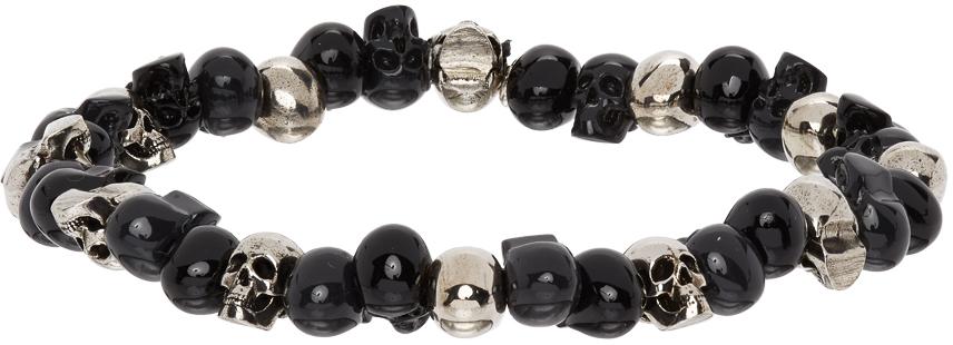 Alexander McQueen 银色 Beaded Skull 手链
