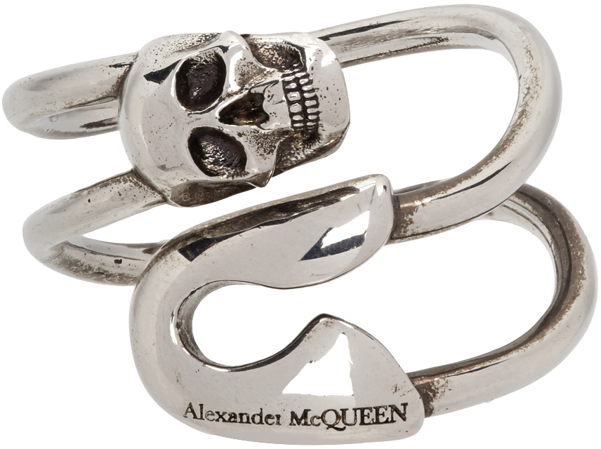 Silver Safety Pin Ring