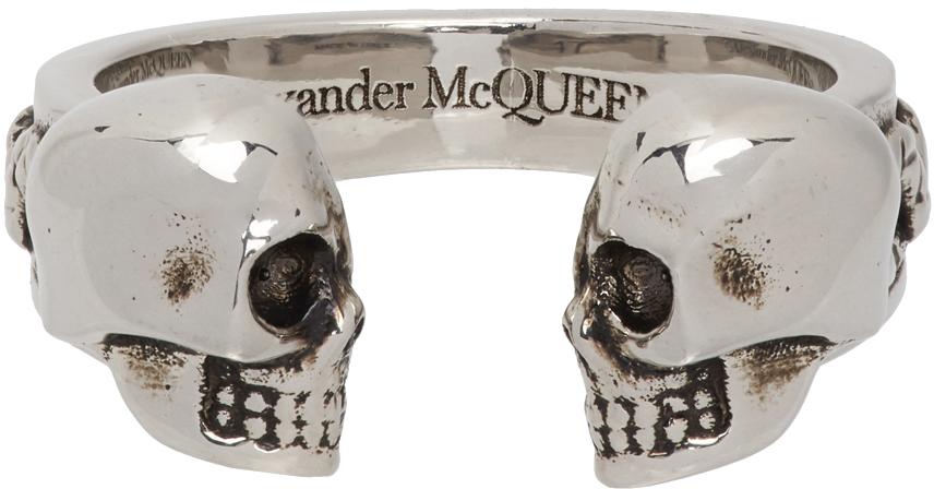 Silver Twin Skulls & Serpent Ring
