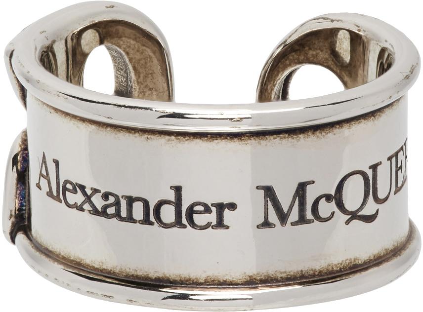 Alexander McQueen 银色徽标雕花戒指