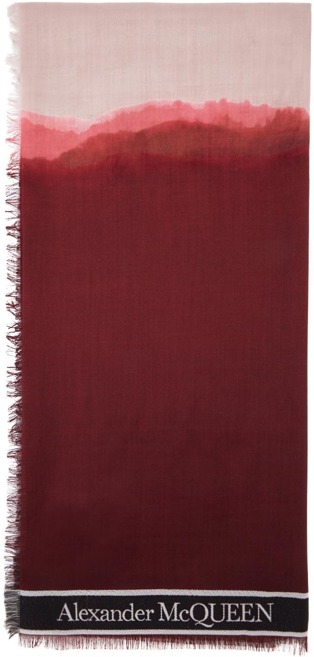 Alexander McQueen 红色 & 酒红色 Selvedge 浸染围巾