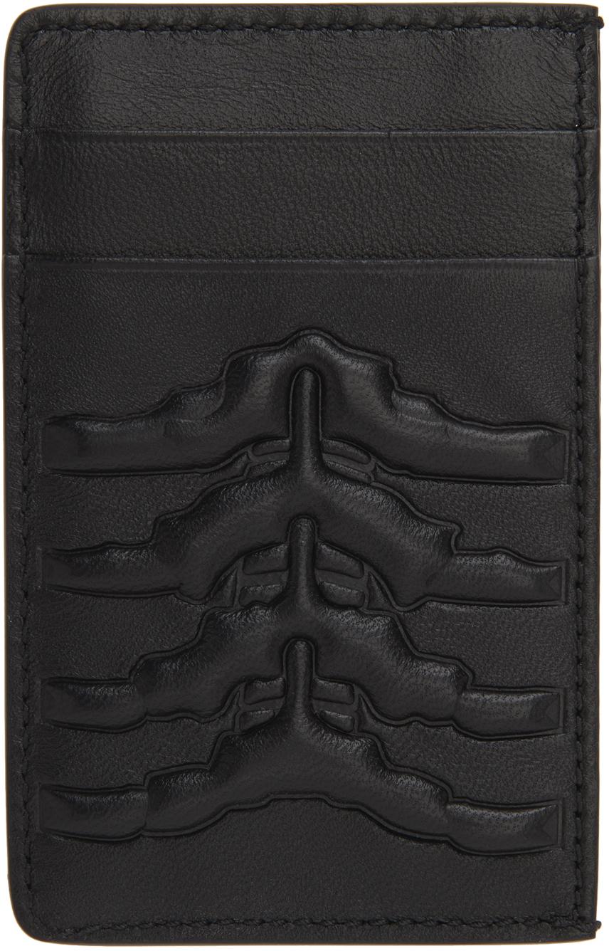 Black Leather Rib Cage Card Holder