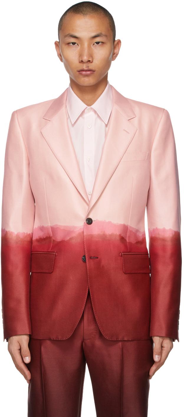 Alexander McQueen 粉色 & 酒红色浸染印花西装外套