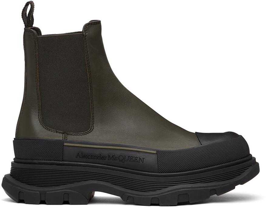 Khaki Tread Slick Chelsea Boots