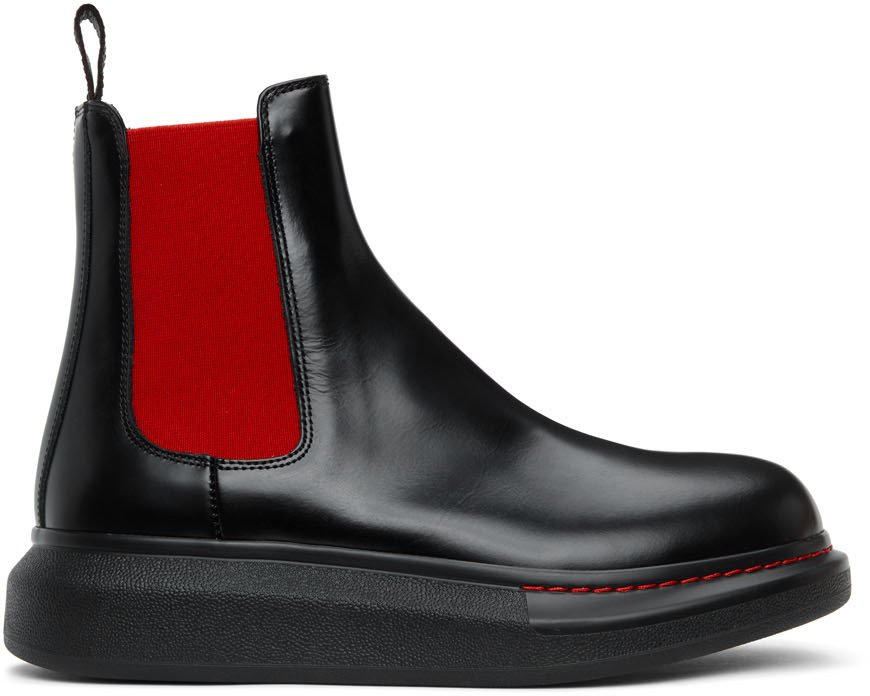 Black & Red Hybrid Chelsea Boots