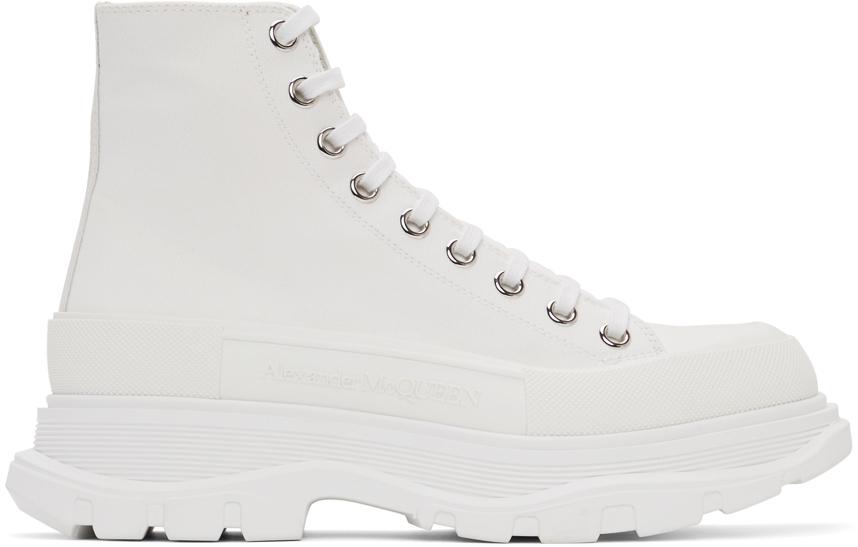 White Canvas Tread Slick Boots