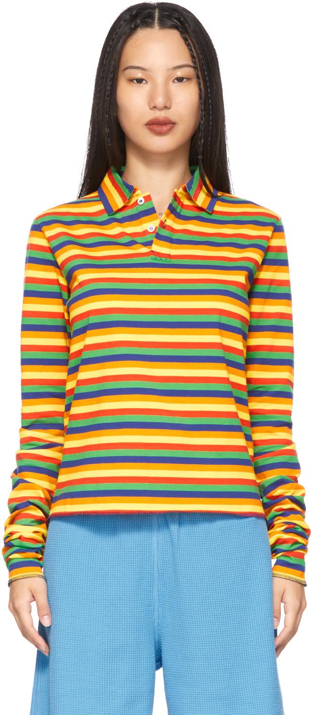 Multicolor Rainbow Stripe Long Sleeve Polo