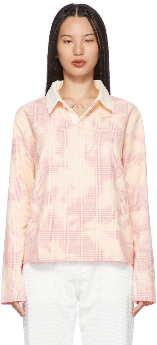 Pink Check Rugby Long Sleeve Polo