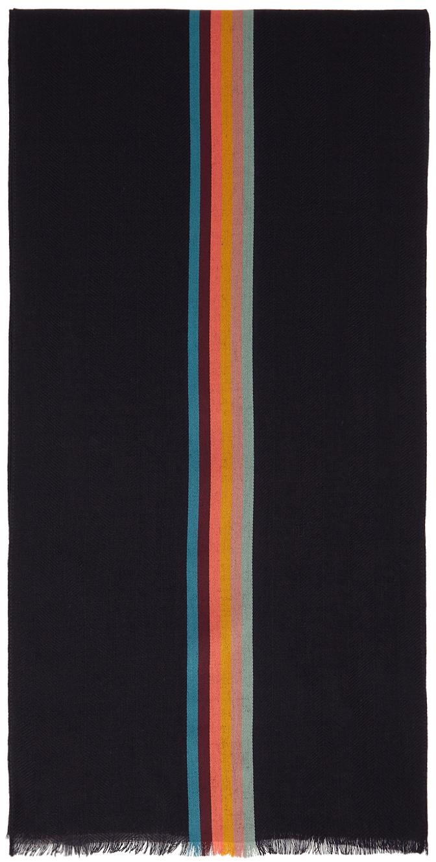 Navy Wool & Silk Artist Stripe Scarf