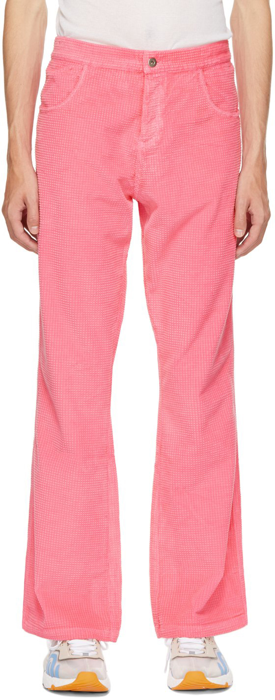 Pink Waffle Corduroy Trousers