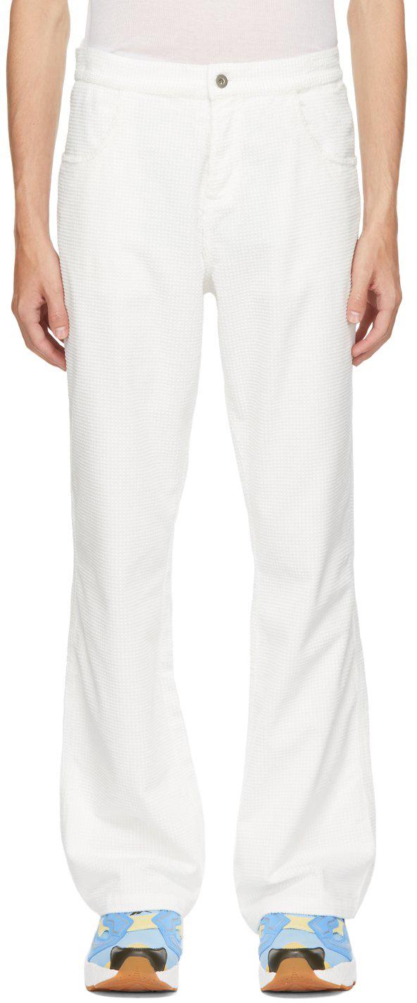White Waffle Corduroy Trousers