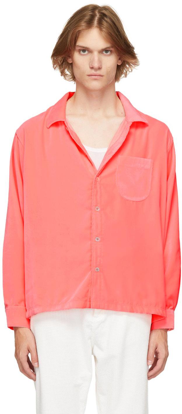 Pink Velvet Drop-Tail Shirt