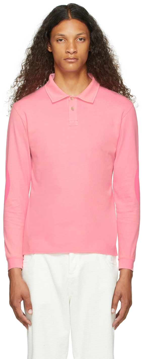 Pink Rugby Long Sleeve Polo