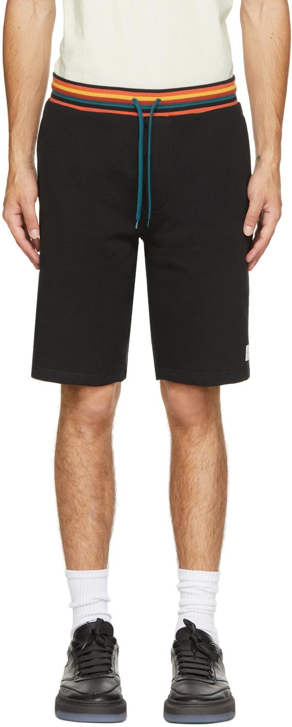 Black Jersey Artist Stripe Shorts