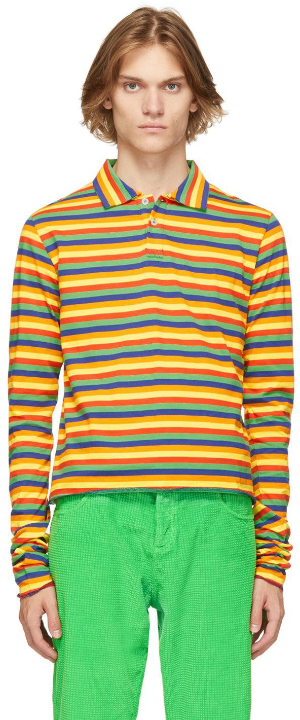 Mulitcolor Rainbow Stripe Long Sleeve Polo
