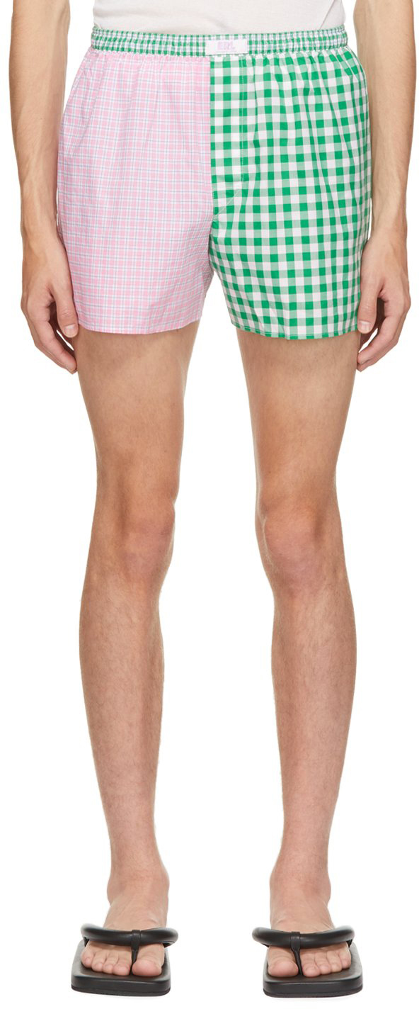 Pink & Green Wide Stripe Shorts