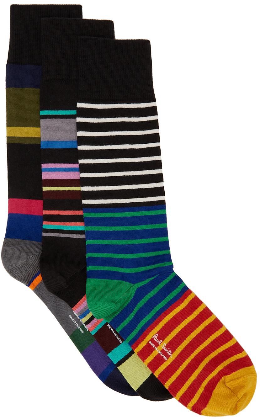 Three-Pack Multicolor Stripe Socks