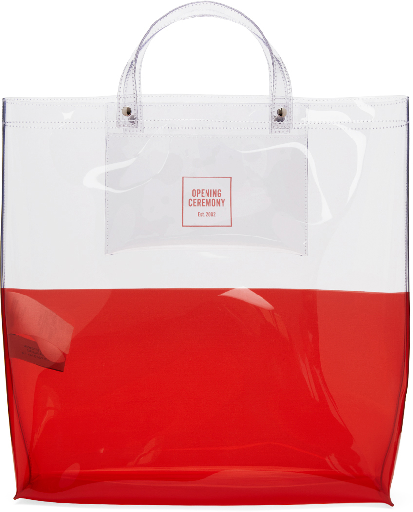 Transparent & Red Large Colorblock Shopping Tote