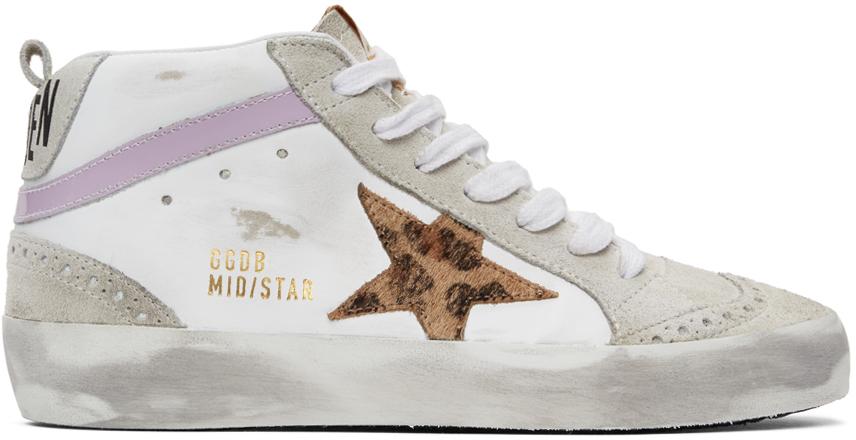 Golden Goose SSENSE Exclusive White & Grey Mid Star Sneakers