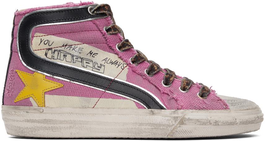 Golden Goose Pink Canvas Classic Slide Sneakers