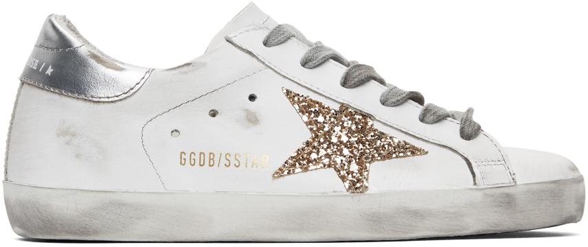Golden Goose SSENSE Exclusive White & Silver Superstar Sneakers