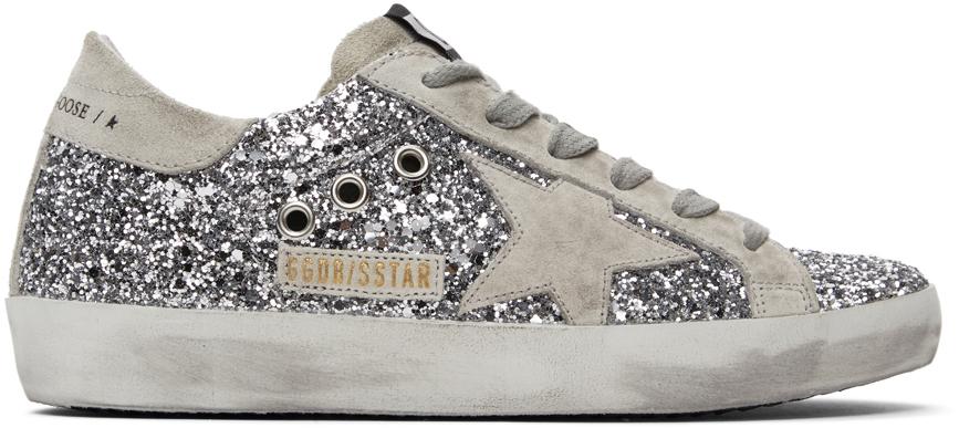 Golden Goose SSENSE Exclusive Silver Glitter Superstar Sneakers
