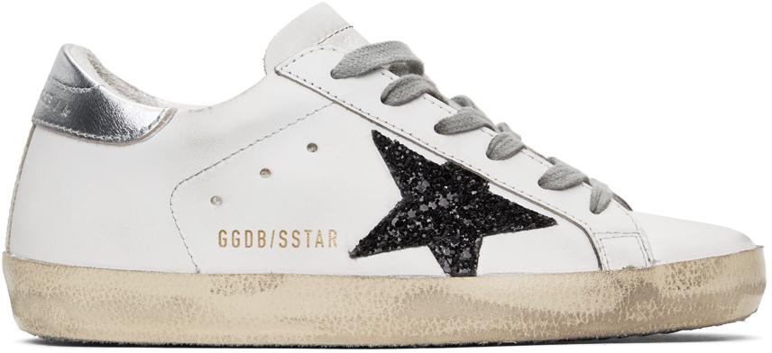 Golden Goose SSENSE Exclusive White & Black Glitter Superstar Sneakers