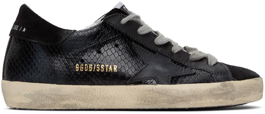 Golden Goose SSENSE Exclusive Black Python Superstar Sneakers