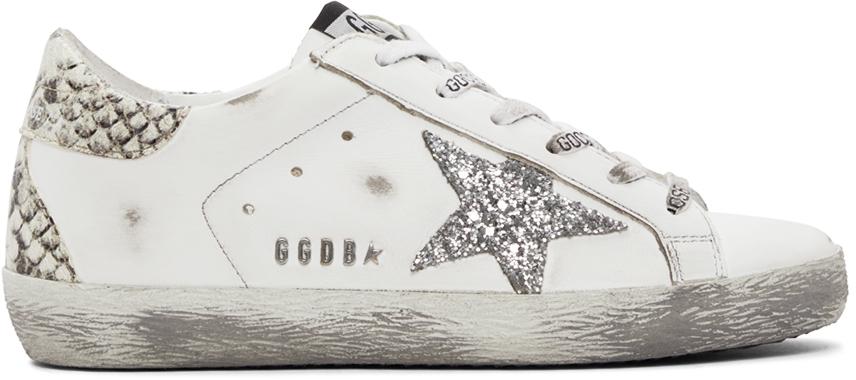 Golden Goose White Glitter Snakeskin Superstar Sneakers