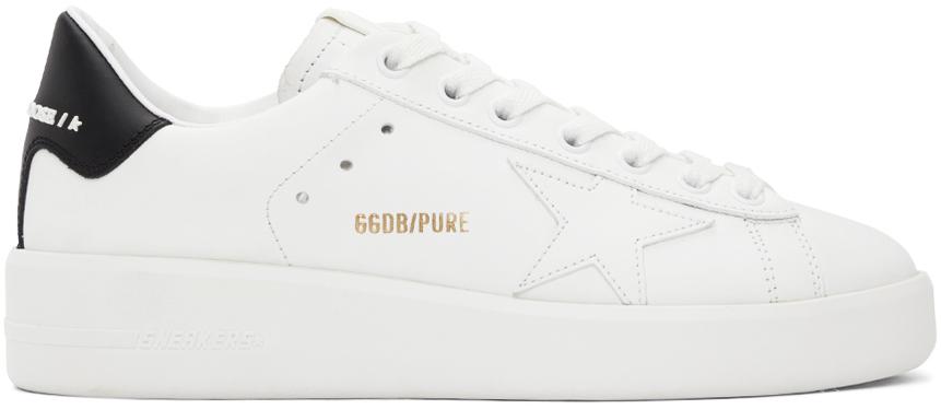 Golden Goose White & Black Purestar Sneakers